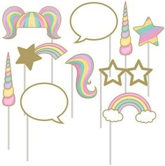 Cute unicorn photo props for a fun unicorn birthday party. Or even a rainbow one. Great idea. #affiliate #rainbow #unicorn #party #ideas