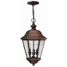 Clifton Beach Dark Sky and Energy Efficient Outdoor Hanging Lantern in Antique Copper by Hinkley. $429.00. 2262AP-ESDS Features: -Dark Sky and Energy Efficient fixture.-Clear seedy glass.-6' of wire, 5' of chain. Includes: -1-26 watt candle compact fluorescent bulbs included. Color/Finish: -Solid Brass in Antique Copper finish. Dimensions: -Overall Dimensions: 19'' H x 9.5'' Dia. Collection: -Clifton Beach outdoor collection.