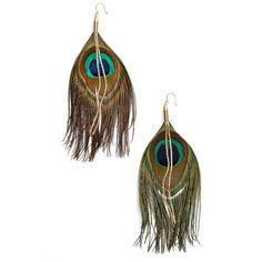 Women's Serefina Peacock Feather Earrings ($60) ❤ liked on Polyvore featuring jewelry, earrings, boho earrings, peacock earrings, feather earrings, bohemian style earrings and feather jewelry