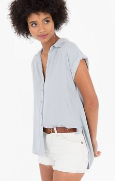 Soft washed for a perfectly weathered look, this button-up top features cuffed, dropped sleeves, a back pleat, and a high-low curved hem. Button Downs, Button Up, Spring Summer 2018, Collars, High Low, Sleeves, Tops, Women, Fashion