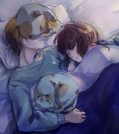 Natsume x Ema (with his cats Azusa  Tsubaki. I bet Tsubaki is the one sleeping on his face~)