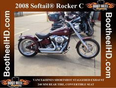 2008 Harley-Davidson Softail Rocker C   VANCE&HINES SHORTSHOT STAGGERED EXHAUST, 240 MM REAR TIRE, CONVERTIBLE SEAT  START WITH THE IDEA THAT NOTHING LIKE IT HAS EVER ROLLED OFF AN ASSEMBLY LINE. 2008 Harley Davidson, Assembly Line, Convertible, Motorcycle, Infinity Dress, Motorcycles, Motorbikes, Choppers