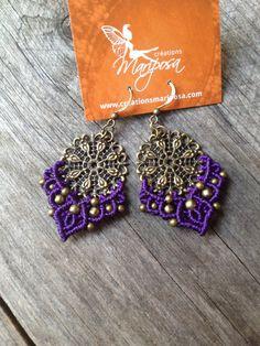 Micro macramé earrings violet Mandala boho par creationsmariposa, $25.00 Free shipping US & CAN