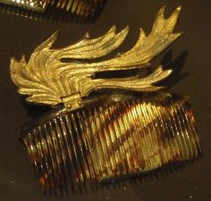 Elsa Schiaparelli Tortoiseshell & Gilt Hair Comb from (a pair) 1935, spied in the Fashion gallery at the V Museum