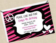 Printable 4x6 birthday party invitation, hot pink zebra stripes, hearts, peace sign.