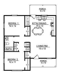 Floor Plans AFLFPW17415 - 1 Story Cottage Home with 2 Bedrooms, 1 Bathroom and 856 total Square Feet