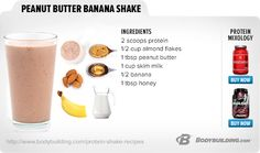 Best Protein Shake And Smoothie Recipes Peanut Butter Banana ShakePeanut Butter Banana Shake Whey Protein Recipes, Whey Protein Shakes, Healthy Shakes, Protein Foods, Healthy Smoothies, Healthy Drinks, Smoothie Recipes, Healthy Sweets, Weight Watcher Smoothies
