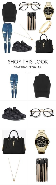 """""""Untitled #472"""" by verca000 ❤ liked on Polyvore featuring Topshop, WearAll, NIKE, Yves Saint Laurent, Michael Kors, Jennifer Zeuner, Casetify and Cartier"""