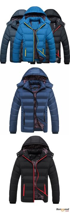 Mens Thick Solid Color Winter Hooded Deatchable Coat Slim Warm Jacket. Mens winter fashion, winter outfits, mens jackets. Detachable hood, safe zipper pockets and inside pocket, water repellent, windproof, cold resistant! Buy now!