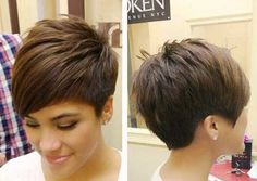 Image result for dark pixie cut with highlights