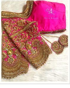 Photo by Sruthi Kannath on January Kerala Saree Blouse Designs, Wedding Saree Blouse Designs, Designer Blouse Patterns, Fancy Blouse Designs, Blouse Neck Designs, Wedding Blouses, Maggam Work Designs, Stylish Blouse Design, Work Blouse