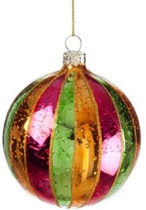 Glass Orange Green Pink Stripe Gold Glitter Ball Christmas Ornament