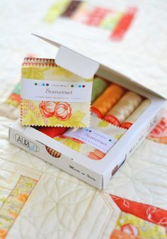 Somerset by Fig Tree mini charm and Aurifil thread together create the cutest little kit to make a mini quilt.