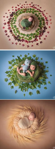 Gaba Dabasinskaite's newborn photos feature sleepy babies set against beautiful nature mandala backdrops.