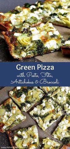 Green Pizza with Pesto, Feta, Artichokes & Broccoli ... a delicious vegetarian pizza recipe! This easy veggie pizza recipe makes a great weeknight dinner idea! | Hello Little Home