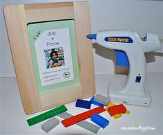 LEGO picture frames! Legos, a cheap wooden frame, and hot glue! I can so do this later on :)