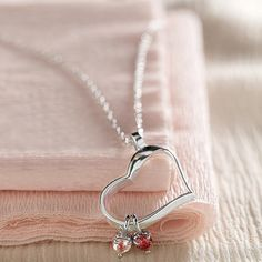 heart-shaped birthstone necklace