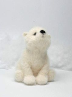Pollo polar bear By agaFil - This needle felted Polar Bear is a wool sculpture. Ideal for your collection or home decor. Perfect gift for someone you love :)Material: 100 % wool. 100 % handmade. Please note: a needle felted sculpture is not a toy This great bear is ready to ship :)