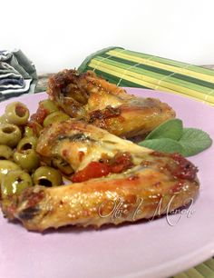 Meat Recipes, Cooking Recipes, Meat Chickens, Olive, I Foods, Chicken Wings, Zucchini, Grilling, Lunch