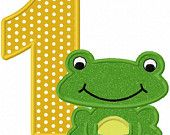 Frog Birthday Numbers Font Applique Machine Embroidery Design NO:1136