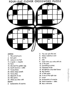 Crossword Puzzle For Kid