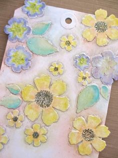 "photo tutorial from One Lucky Day: ""Genuine"" Fun ... mixed media tag ... luv these flowers ..."