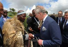 Prince Charles greets the King of the Xhosa tribe Zwelonke Sigcau at the funeral for Nelson Mandela 15 Dec 2013