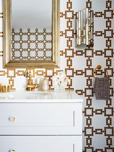 Hollywood glamour powder room featuring Greg Natale tiles with art deco style wall sconces and gold framed mirror. Art Deco Bathroom, Bathroom Ideas, Inset Sink, Gold Framed Mirror, Powder Room Design, Complete Bathrooms, Feature Tiles, Art Deco Home, Modern Art Deco