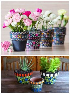 DIY pots.. These will make beautiful housewarming gift!