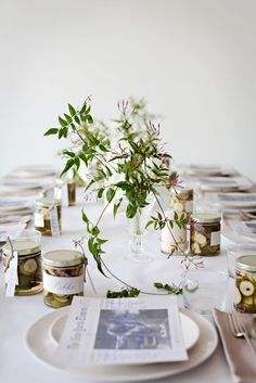 Simple setting with cool place cards,