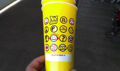 This is Which Wich Superior Sandwiches cup backside. I found the cup at my day job. I really like each of the icons they used especially the headphones and cookie icon. I get the feeling that the designer here is trying to set a mood with the viewer. I get a happy-go-lucky down to earth easy going feeling. I wonder if the name tag is for the customer name or name for custom drinks that they might do?