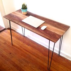 Abstrakt Black Walnut Desk, Reclaimed Wood & Hairpin Leg Desk by ReclaimedPA