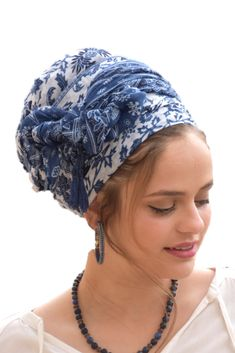 💛🧡This lovely, soft, handcrafted headscarf is an alluring combination of blue and white fabric, with additional blue tassels for special knots. It can be tied in multiple ways. #ticheloftheday #tichel #tichels #headcoveringmovement #headcovering #headscarf #veil #vintagefashionchallenge #vintage #snood #headpiece #doityourself #Inspire #Turban #beautiful #beauty #makeup #fashion #style #love #jewish #judaic #judaism #volumizer #hebrew #ashkenazi #flower #hijab #religio