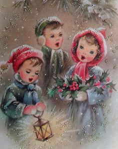 A trio of children sing in this glittered Christmas card from the 1960s.