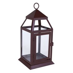 "23599 - Richmond Lantern Small Brown - Wholesale. This small lantern is ideal for a mantel, small table, or countertop. A good size for a votive candle.  A good size for a 3"" x 3"" pillar candle (not included). Door has a 3 1/2"" x 5 1/2"" opening."