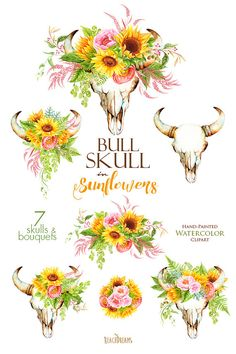 Sunflowers Watercolor Bull Skull With Floral Bouquets Bohemian Boho Rustic Flowers Hand Painted Wedding Clipart Digital DIY Invitations