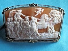 Stunning RARE Antique Victorian Solid 14k Gold Shell Cameo Aurora's Chariot | eBay