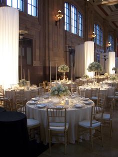 Union Station in Kansas City is a lovely venue for a white on white wedding.