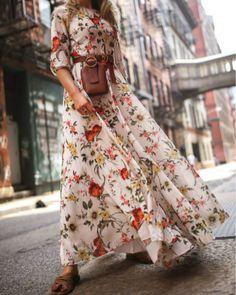 Women Fashion Elegant Floral Print A-line High Waist Boho Style Chiffon Maxi Long Dress Backless Maxi Dresses, Maxi Robes, Chiffon Maxi Dress, Maxi Dress With Sleeves, Half Sleeves, Sheath Dress, Lady, Estilo Boho, Print Chiffon