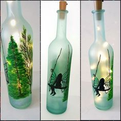 Fairy in a Lighted Bottle Fairy night light Painted Wine Wine Bottle Vases, Glass Bottle Crafts, Bottle Lights, Glass Bottles, Night Light, Fairy, Etsy, Decor, Crafts With Bottles