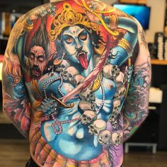 Durga Tattoo - Durga Tattoos - Best Picture For Body Suit with shorts For Your Taste You are looking for something, and it is going to t God Tattoos, Body Art Tattoos, Tattoos For Guys, Sleeve Tattoos, Hindu Tattoos, Tatoos, Kali Tattoo, Backpiece Tattoo, Demon Tattoo