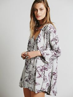 Free People Floral Foil Print Swing Tunic at Free People Clothing Boutique