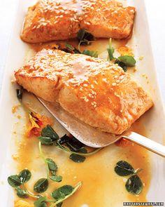 Wasabi Salmon with Miso-Sesame Sauce  Easy and really really good.  I skip the fresh edible flowers!