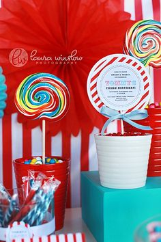 PRINTABLE INVITATIONS Top Layer and Stripe Paper for Lollipop Party Invitations BOY - The TomKat Studio. $17.50, via Etsy.