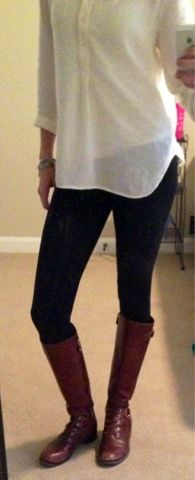 Outfit of the day! My weekend look White Flowy Top, Flowy Tops, Fashion Beauty, Women's Fashion, Dressed To Kill, Black Tights, Classy And Fabulous, Dress Me Up, Fashion Addict