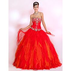 Ball Gown Strapless Floor-length Organza Prom Dress – USD $ 499.99