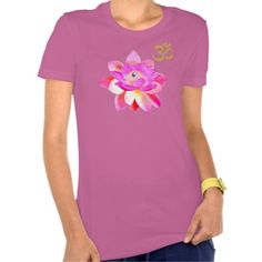 BELLA FASHION CUT T - PINK YOGA LOTUS OM SHIRT. Available in many pastel shades, golden om with opened pink lotus with luminous pearl. This is a fitted look Bella fashion cut. awesome ladies!