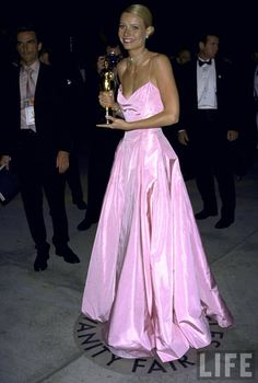 Gwyneth Paltrow's stunning gown at the 1999 Oscar Awards.  She won best actress that year for her role in Shakespeare in Love.