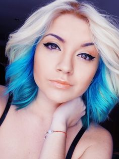 Blue Under Layer with Blonde on Top | Gorgeous Hair Colour & Cut