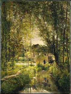 Charles François Daubigny (French, 1817-1878). Landscape with a Sunlit Stream. ca. 1877.